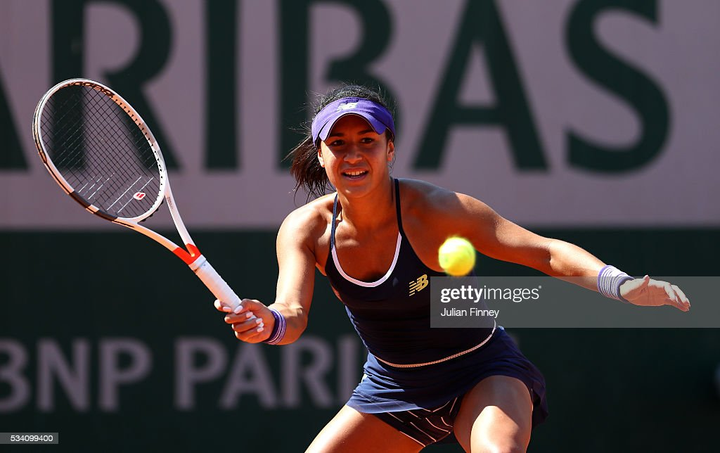 <a gi-track='captionPersonalityLinkClicked' href=/galleries/search?phrase=Heather+Watson&family=editorial&specificpeople=5418928 ng-click='$event.stopPropagation()'>Heather Watson</a> of Great Britain hits a forehand during the Women's Singles second round match against Svetlana Kuznetsova of Russia at Roland Garros on May 25, 2016 in Paris, France.