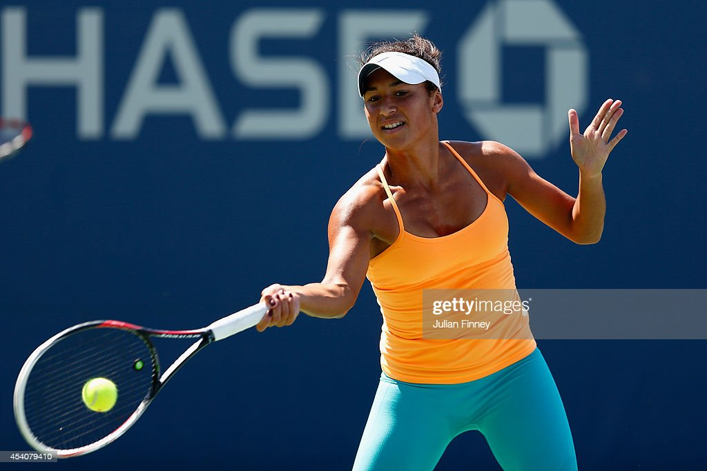 Heather Watson of Great Britain in a practice session during previews for the US Open tennis at USTA Billie Jean King National Tennis Center on August 24, 2014 in New York City.