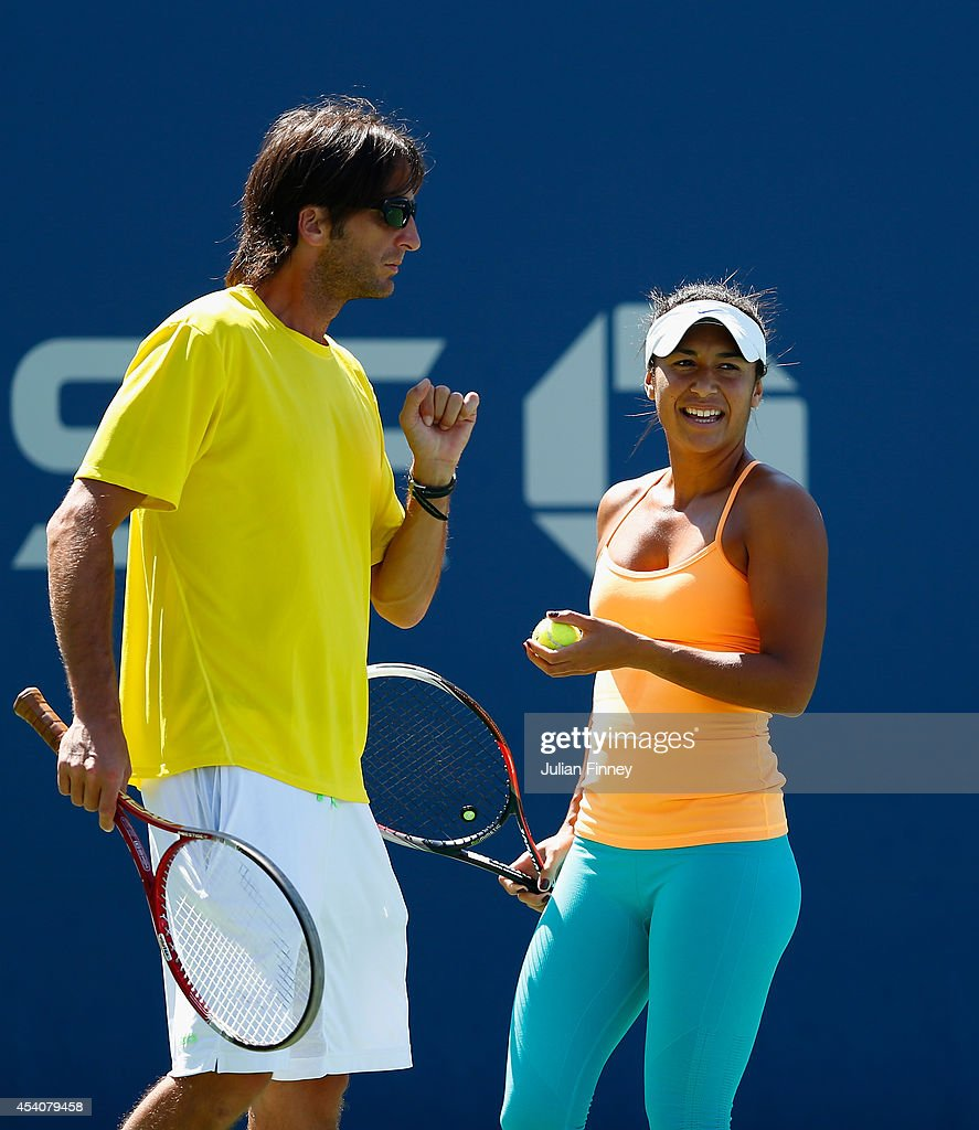 Heather Watson of Great Britain in a practice session with coach Diego Veronelli during previews for the US Open tennis at USTA Billie Jean King National Tennis Center on August 24, 2014 in New York City.