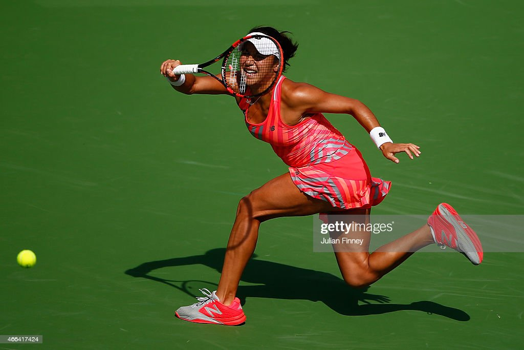 Heather Watson of Great Britain in action against Agnieszka Radwanska of Poland during day seven of the BNP Paribas Open tennis at the Indian Wells Tennis Garden on March 15, 2015 in Indian Wells, California.