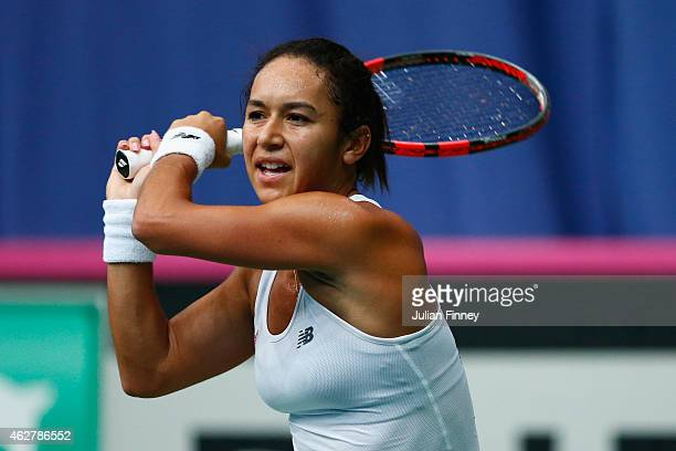 Heather Watson of Great Britain in action against Cagla Buyukakcay of Turkey during day two of the Fed Cup/Africa Group One tennis at Syma Event and...