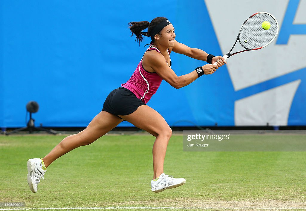 <a gi-track='captionPersonalityLinkClicked' href=/galleries/search?phrase=Heather+Watson&family=editorial&specificpeople=5418928 ng-click='$event.stopPropagation()'>Heather Watson</a> of Great Britain in action against Elena Vesnina of Russia during day five of the AEGON International tennis tournament at Devonshire Park on June 19, 2013 in Eastbourne, England.