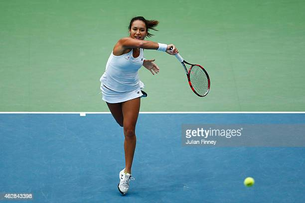 Heather Watson of Great Britain in action against Elina Svitolina of Ukraine during day three of the Fed Cup/Africa Group One tennis at Syma Event...