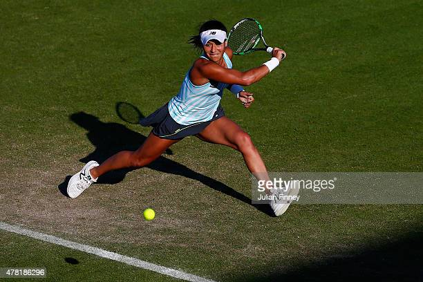 Heather Watson of Great Britain in action against Elina Svitolina of Ukraine during the Aegon International day three at Devonshire Park on June 23...
