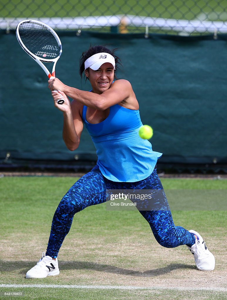 <a gi-track='captionPersonalityLinkClicked' href=/galleries/search?phrase=Heather+Watson&family=editorial&specificpeople=5418928 ng-click='$event.stopPropagation()'>Heather Watson</a> of Great Britain in action during a practice session prior to the Wimbledon Lawn Tennis Championships at the All England Lawn Tennis and Croquet Club on June 26, 2016 in London, England.