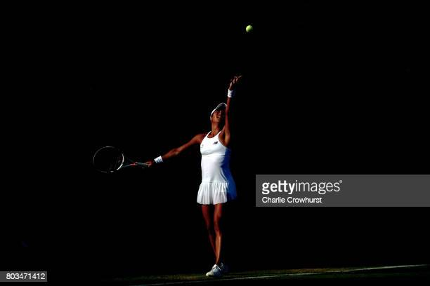 Heather Watson of Great Britain in action during her quarter final match against Barbara Strycova of Czech Republic during day five of the Aegon...
