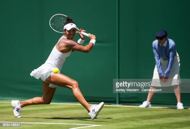 Heather Watson of Great Britain in action during her victory over Anastasija Sevastova of Latvia in their Ladies' Singles Second Round Match at...