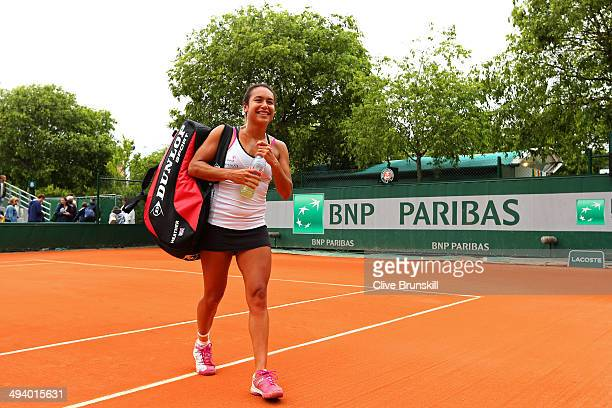 Heather Watson of Great Britain leaves the court after her victory in her women's singles match against Barbora Zahlavova Strycova of Czech Republic...