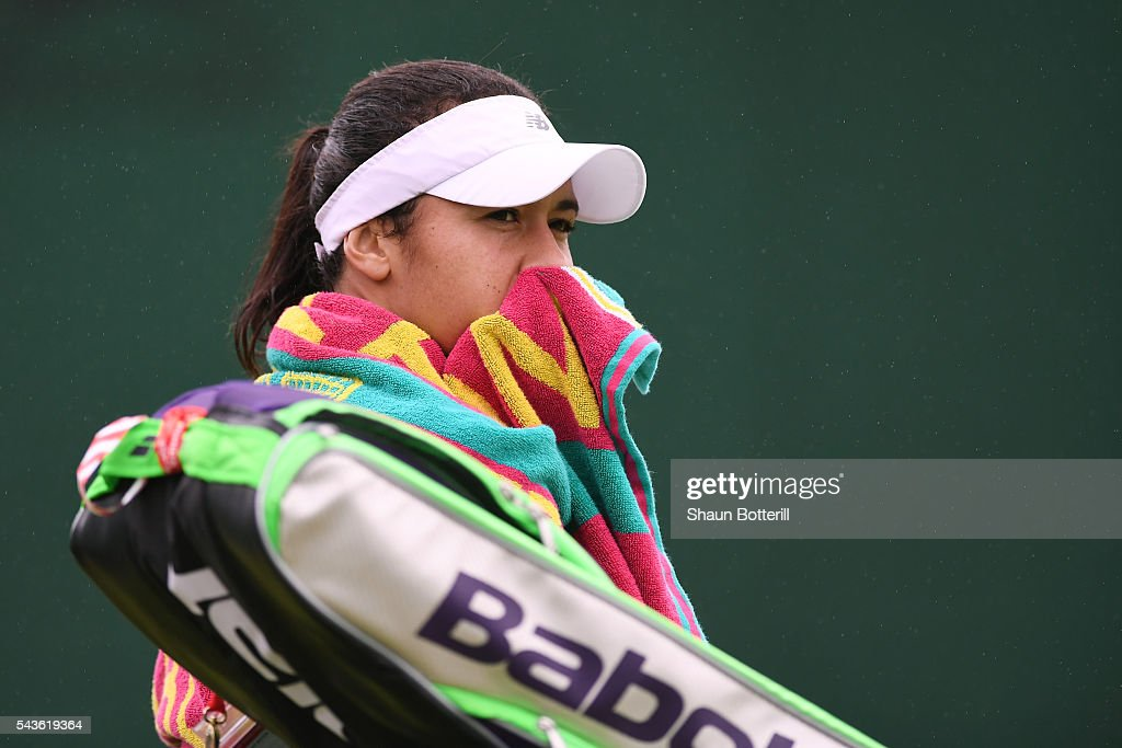 <a gi-track='captionPersonalityLinkClicked' href=/galleries/search?phrase=Heather+Watson&family=editorial&specificpeople=5418928 ng-click='$event.stopPropagation()'>Heather Watson</a> of Great Britain looks dejected during the Ladies Singles second round match against Annika Beck of Germany on day three of the Wimbledon Lawn Tennis Championships at the All England Lawn Tennis and Croquet Club on June 29, 2016 in London, England.