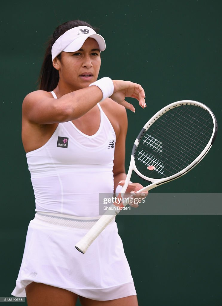 <a gi-track='captionPersonalityLinkClicked' href=/galleries/search?phrase=Heather+Watson&family=editorial&specificpeople=5418928 ng-click='$event.stopPropagation()'>Heather Watson</a> of Great Britain looks on during the Ladies Singles second round match against Annika Beck of Great Britain on day three of the Wimbledon Lawn Tennis Championships at the All England Lawn Tennis and Croquet Club on June 29, 2016 in London, England.