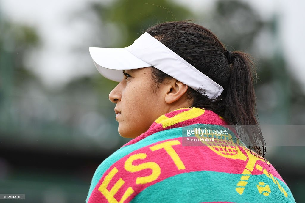 <a gi-track='captionPersonalityLinkClicked' href=/galleries/search?phrase=Sorana+Cirstea&family=editorial&specificpeople=4499606 ng-click='$event.stopPropagation()'>Sorana Cirstea</a> of Romania looks dejected during the Ladies Singles second round match against Petra Kvitova of The Czech Republic on day three of the Wimbledon Lawn Tennis Championships at the All England Lawn Tennis and Croquet Club on June 29, 2016 in London, England.