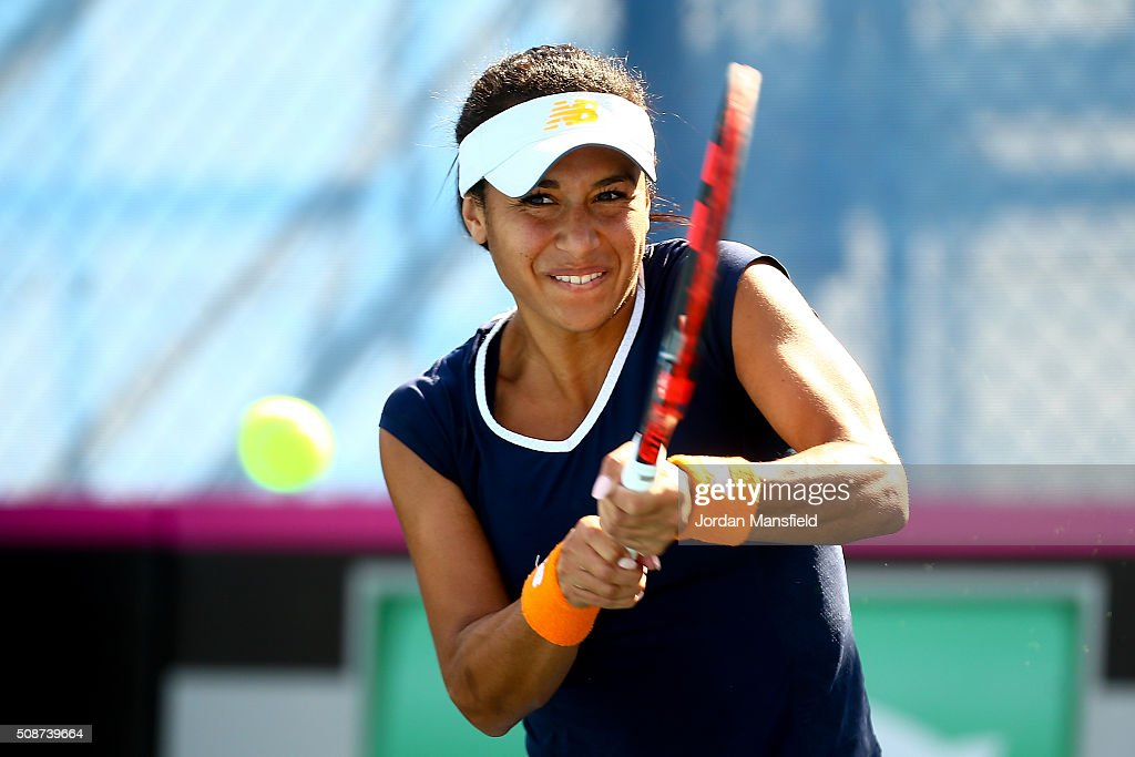 <a gi-track='captionPersonalityLinkClicked' href=/galleries/search?phrase=Heather+Watson&family=editorial&specificpeople=5418928 ng-click='$event.stopPropagation()'>Heather Watson</a> of Great Britain plays a backhand during her match against Alison van Uytvanck of Belgium during the tie between Belgium and Great Britain on day three of the Fed Cup Europe/Africa Group One fixture at the Municipal Tennis Club on February 6, 2016 in Eilat, Israel.