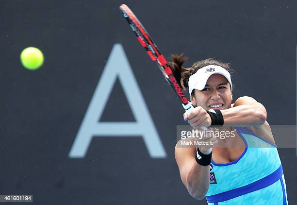 Heather Watson of Great Britain plays a backhand in her semi final match against Alison Riske of the USA during day six of the 2015 Hobart...