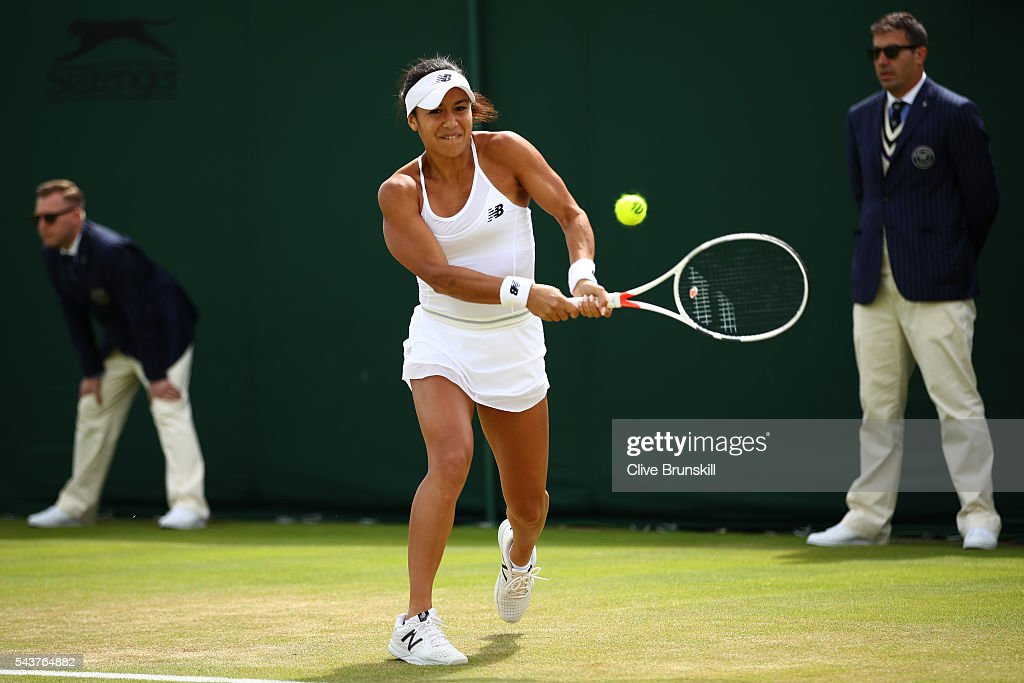 <a gi-track='captionPersonalityLinkClicked' href=/galleries/search?phrase=Laura+Robson&family=editorial&specificpeople=5421044 ng-click='$event.stopPropagation()'>Laura Robson</a> of Great Britain plays a backhand the Ladies Singles first round match against Annika Beck of Germany on day four of the Wimbledon Lawn Tennis Championships at the All England Lawn Tennis and Croquet Club on June 30, 2016 in London, England.