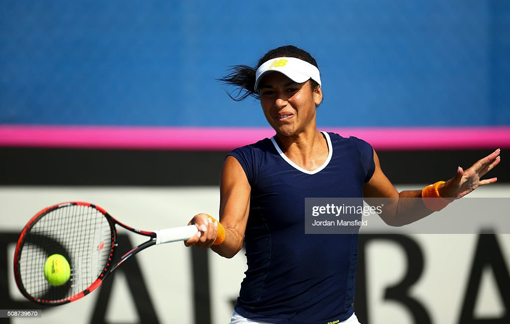 <a gi-track='captionPersonalityLinkClicked' href=/galleries/search?phrase=Heather+Watson&family=editorial&specificpeople=5418928 ng-click='$event.stopPropagation()'>Heather Watson</a> of Great Britain plays a forehand during her match against Alison van Uytvanck of Belgium during the tie between Belgium and Great Britain on day three of the Fed Cup Europe/Africa Group One fixture at the Municipal Tennis Club on February 6, 2016 in Eilat, Israel.