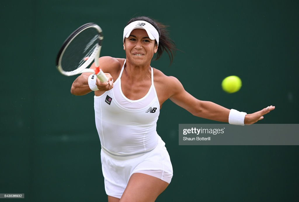 <a gi-track='captionPersonalityLinkClicked' href=/galleries/search?phrase=Heather+Watson&family=editorial&specificpeople=5418928 ng-click='$event.stopPropagation()'>Heather Watson</a> of Great Britain plays a forehand during the Ladies Singles second round match against Annika Beck of Great Britain on day three of the Wimbledon Lawn Tennis Championships at the All England Lawn Tennis and Croquet Club on June 29, 2016 in London, England.