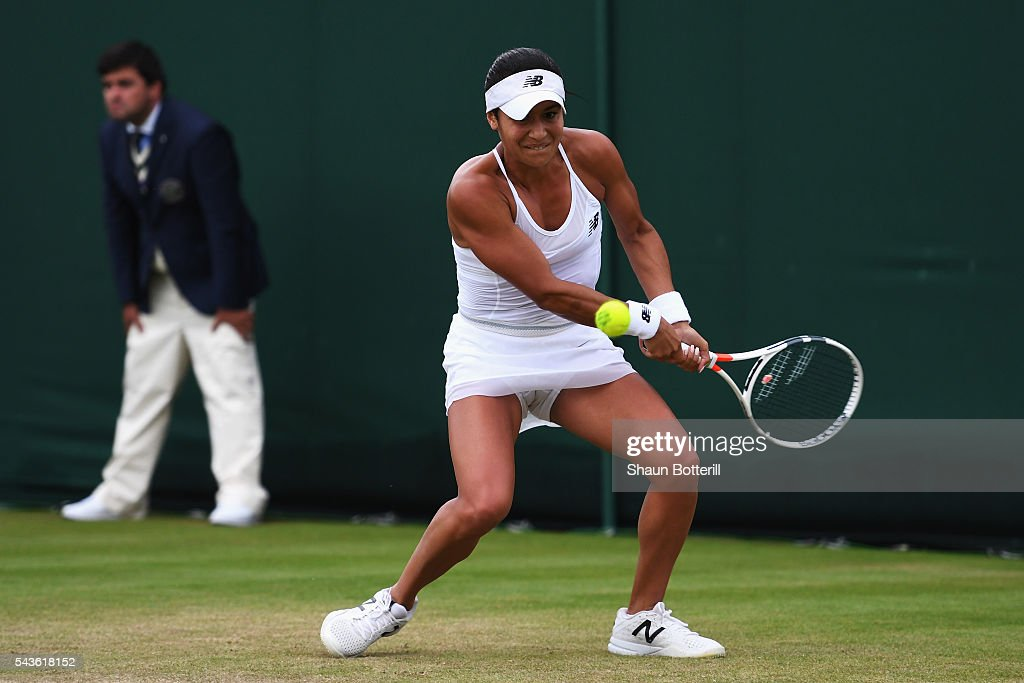 <a gi-track='captionPersonalityLinkClicked' href=/galleries/search?phrase=Heather+Watson&family=editorial&specificpeople=5418928 ng-click='$event.stopPropagation()'>Heather Watson</a> of Great Britain plays a forehand during the Ladies Singles second round match against Annika Beck of Germany on day three of the Wimbledon Lawn Tennis Championships at the All England Lawn Tennis and Croquet Club on June 29, 2016 in London, England.