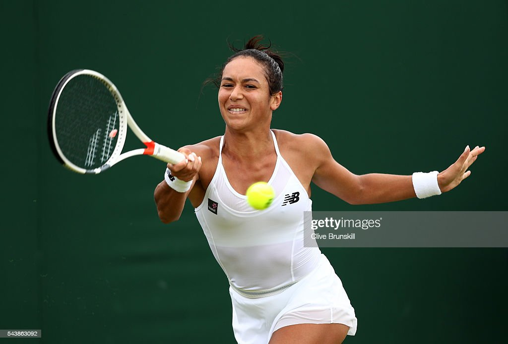 <a gi-track='captionPersonalityLinkClicked' href=/galleries/search?phrase=Heather+Watson&family=editorial&specificpeople=5418928 ng-click='$event.stopPropagation()'>Heather Watson</a> of Great Britain plays a forehand during the Ladies Singles first round match against Annika Beck of Germany on day four of the Wimbledon Lawn Tennis Championships at the All England Lawn Tennis and Croquet Club on June 30, 2016 in London, England.
