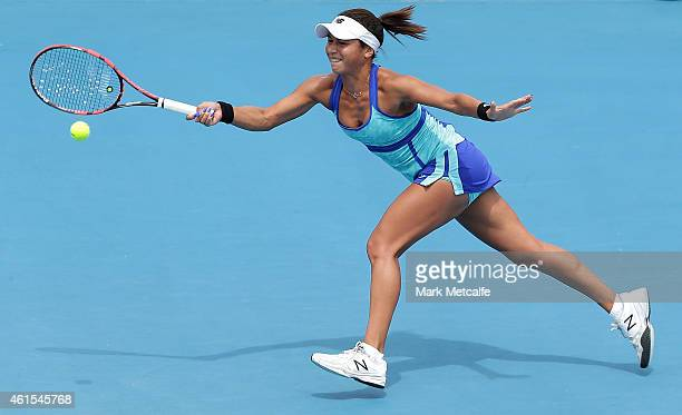 Heather Watson of Great Britain plays a forehand in her quarter final match against Roberta Vinci of Italy during day five of the Hobart...
