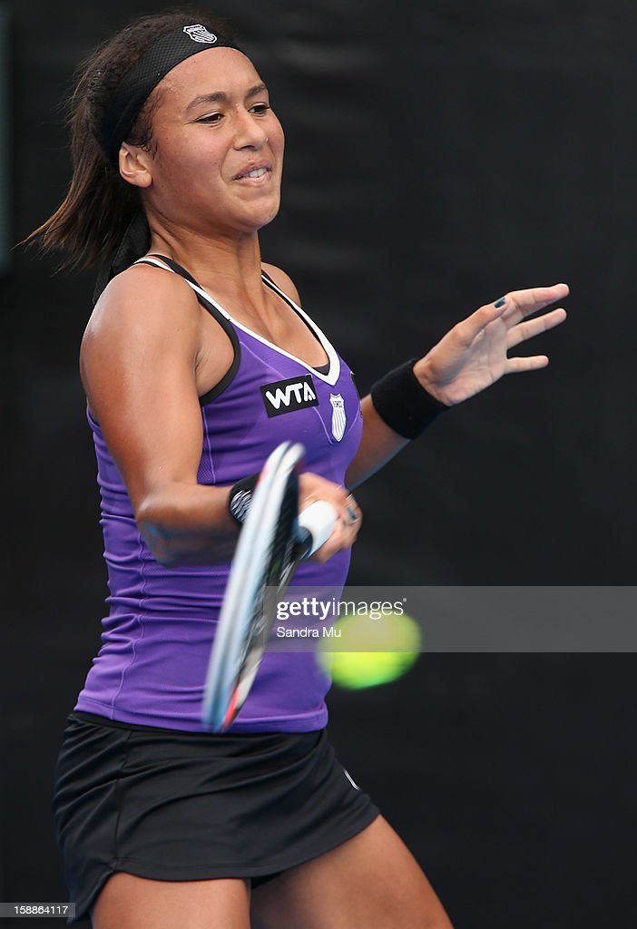 <a gi-track='captionPersonalityLinkClicked' href=/galleries/search?phrase=Heather+Watson&family=editorial&specificpeople=5418928 ng-click='$event.stopPropagation()'>Heather Watson</a> of Great Britain plays a forehand in her second round match against Kiki Bertens of Netherlands during day three of the 2013 ASB Classic on January 2, 2013 in Auckland, New Zealand.