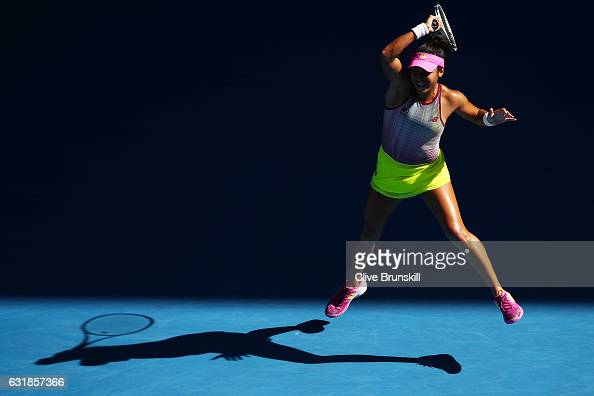 Heather Watson of Great Britain plays a forehand point in her first round match against Samantha Stosur of Australia on day two of the 2017...