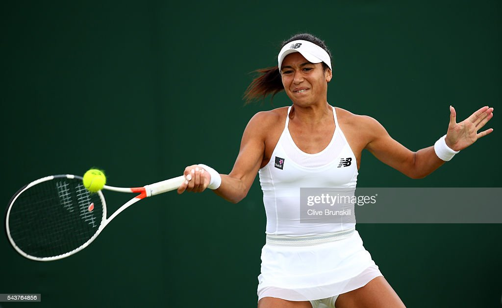 <a gi-track='captionPersonalityLinkClicked' href=/galleries/search?phrase=Laura+Robson&family=editorial&specificpeople=5421044 ng-click='$event.stopPropagation()'>Laura Robson</a> of Great Britain plays a forehand the Ladies Singles first round match against Annika Beck of Germany on day four of the Wimbledon Lawn Tennis Championships at the All England Lawn Tennis and Croquet Club on June 30, 2016 in London, England.