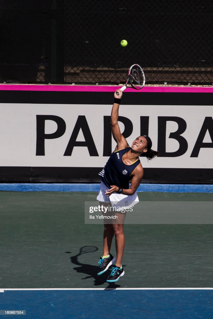 <a gi-track='captionPersonalityLinkClicked' href=/galleries/search?phrase=Heather+Watson&family=editorial&specificpeople=5418928 ng-click='$event.stopPropagation()'>Heather Watson</a> of Great Britain plays a shot in her match against Anita Husaric of Bosnia and Herzegovina during the tie between Great Britain and Bosnia and Herzegovina during the Fed Cup Europe/Africa Group One fixture at the Municipal Tennis Club on February 7, 2013 in Eilat, Israel.