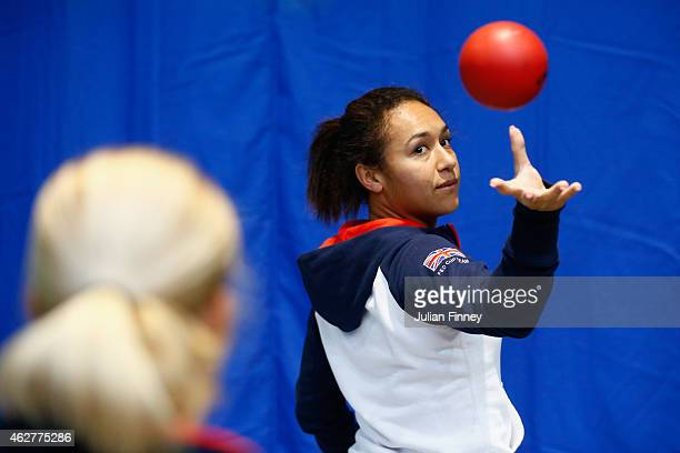 Heather Watson of Great Britain prepares for a practice session during day two of the Fed Cup/Africa Group One tennis at Syma Event and Congress...