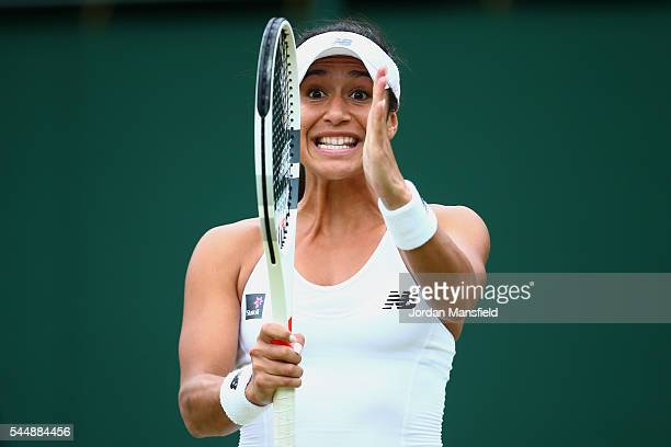 Heather Watson of Great Britain reacts during the Ladies Doubles third round match against Julia Georges of Germany and Karonlina Pliskova of The...