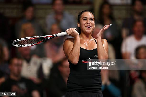 Heather Watson of Great Britain reacts during the Mylan WTT Smash Hits on day five of the Statoil Masters Tennis at the Royal Albert Hall on December...