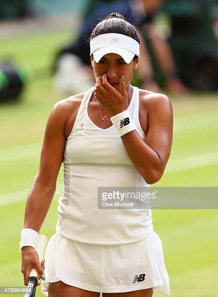 Heather Watson of Great Britain reacts in her Ladies' Singles Third Round match against Serena Williams of the United States during day five of the...