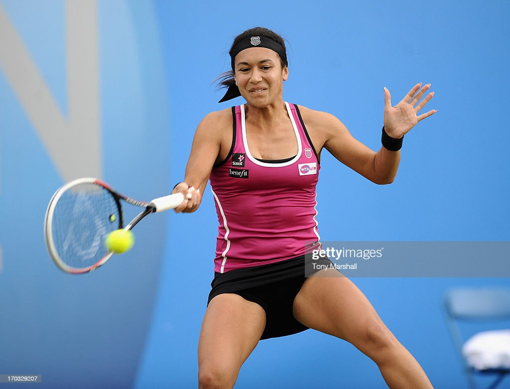 <a gi-track='captionPersonalityLinkClicked' href=/galleries/search?phrase=Heather+Watson&family=editorial&specificpeople=5418928 ng-click='$event.stopPropagation()'>Heather Watson</a> of Great Britain returns a shot during her match against Melinda Czink of Hungary during The AEGON Classic Tennis Tournament at Edgbaston Priory Club on June 11, 2013 in Birmingham, England.