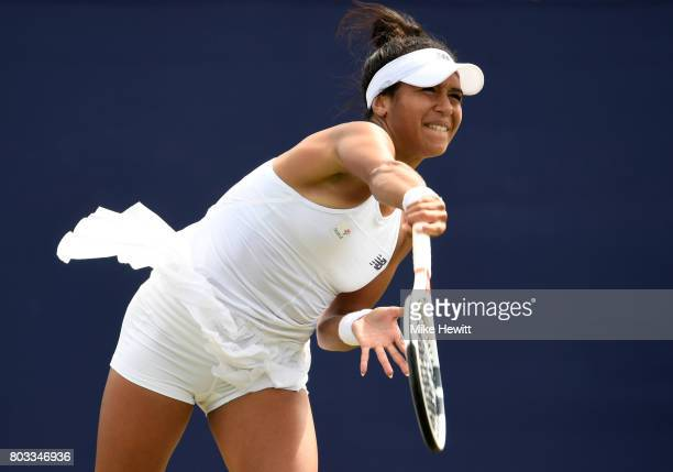 Heather Watson of Great Britain serves during the ladies singles round of 16 match against Anastasia Pavlyuchenkova of Russia on day five of the...