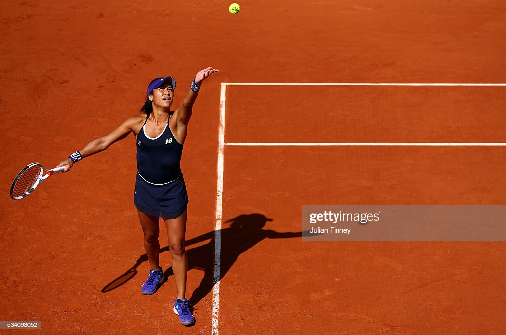 Heather Watson of Great Britain serves during the Women's Singles second round match against Svetlana Kuznetsova of Russia at Roland Garros on May 25, 2016 in Paris, France.