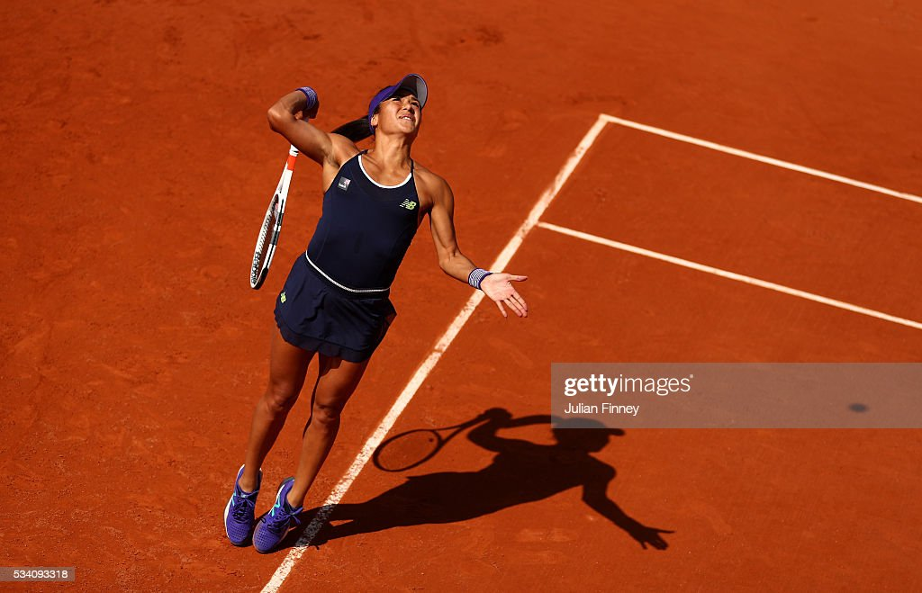 <a gi-track='captionPersonalityLinkClicked' href=/galleries/search?phrase=Heather+Watson&family=editorial&specificpeople=5418928 ng-click='$event.stopPropagation()'>Heather Watson</a> of Great Britain serves during the Women's Singles second round match against Svetlana Kuznetsova of Russia at Roland Garros on May 25, 2016 in Paris, France.
