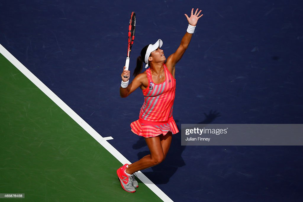 Heather Watson of Great Britain serves to Julia Goerges of Germany during day three of the BNP Paribas Open tennis at the Indian Wells Tennis Garden on March 11, 2015 in Indian Wells, California.