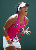 Heather Watson of Great Britain shows her emotions against Yanina Wickmayer of Belgium in their third round match during the Miami Open Presented by...