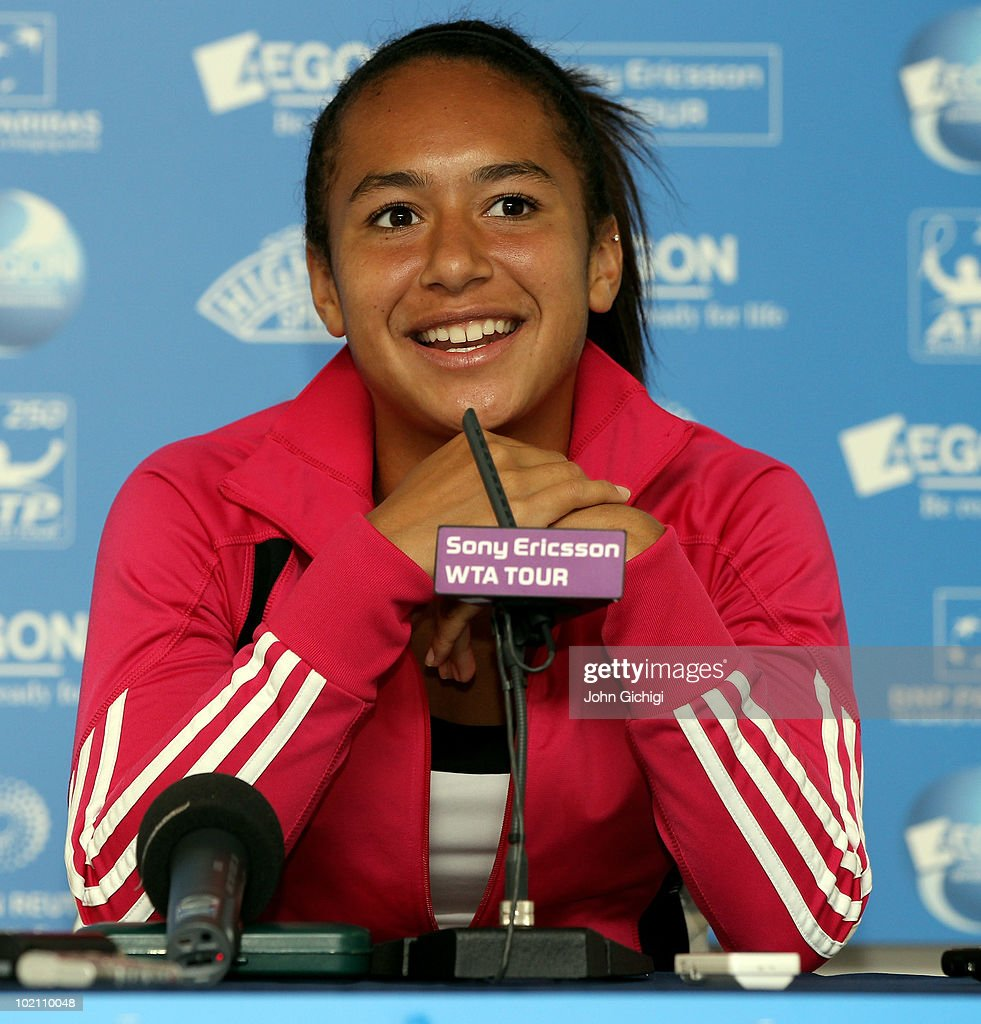 Heather Watson of Great Britain talks to the media after her second round match against Aleksandra Wozniak of Canada during day two of The AEGON Tennis Tournament on June 15, 2010 in Eastbourne, England.