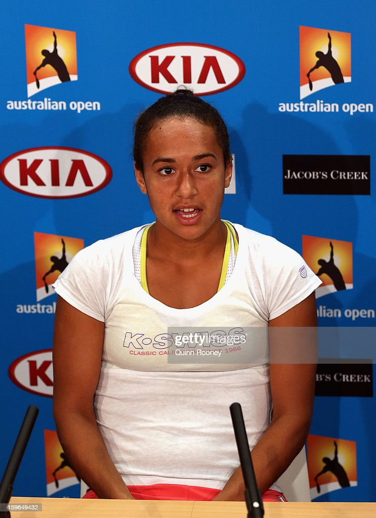 Heather Watson of Great Britain talks to the media at a press conference after her third round loss against Agnieszka Radwanska of Poland during day five of the 2013 Australian Open at Melbourne Park on January 18, 2013 in Melbourne, Australia.
