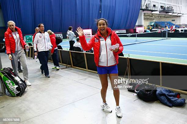 Heather Watson of Great Britain waves as she leaves a practice session during previews for the Fed Cup Europe/Africa Group One tennis at Syma Event...