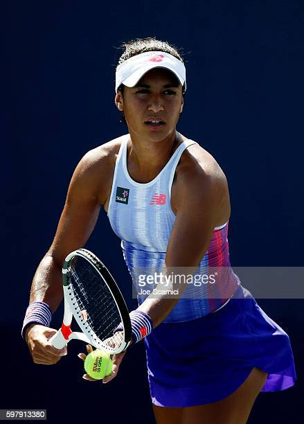 Heather Watson of the United Kingdom prepares to serve to Richel Hogenkamp of the Netherlands during her first round Women's Singles match on Day Two...
