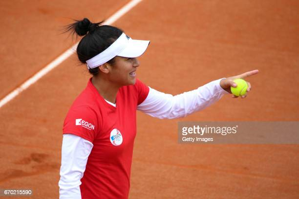 Heather Watson reacts during a Great Britain Fed Cup training session at Tenis Club IDU on April 19 2017 in Constanta Romania