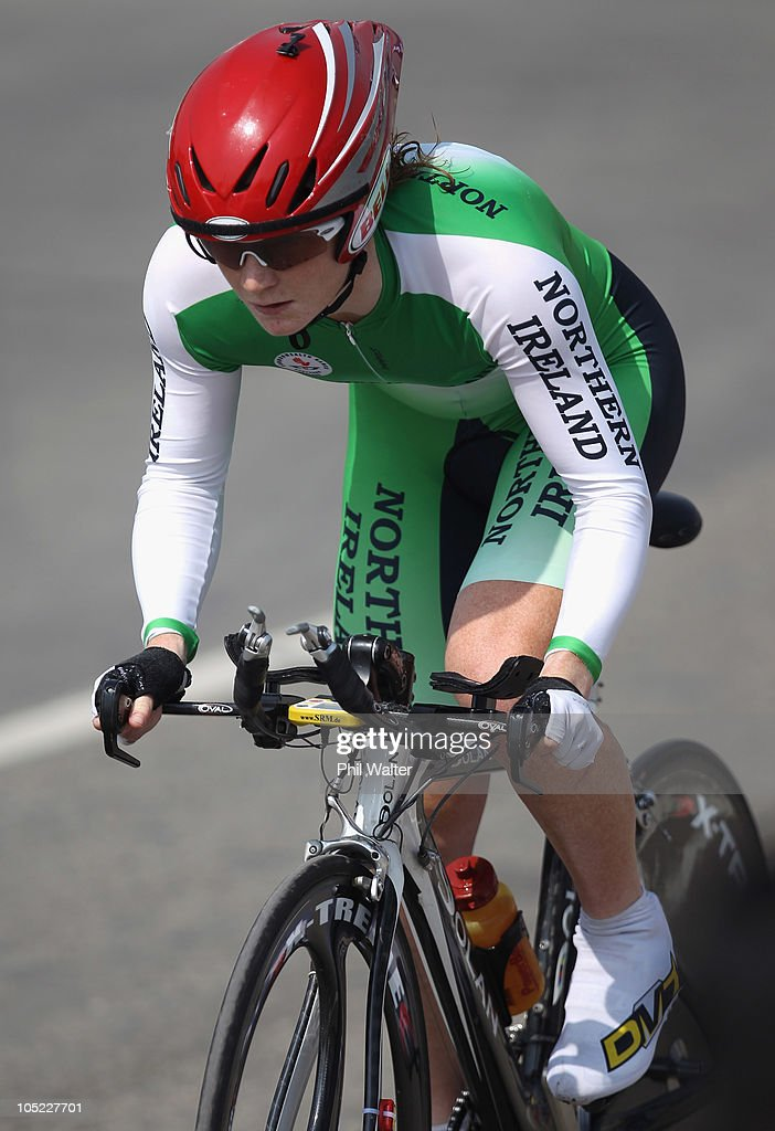 Heather Wilson of Northern Ireland competes in the Womens Individual Time Trial during day ten of the Delhi 2010 Commonwealth Games on October 13, 2010 in Delhi, India.