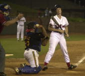 Heather Wilson RNM reacts after she struckout during the 40th Annual Roll Call Congressional Baseball Game