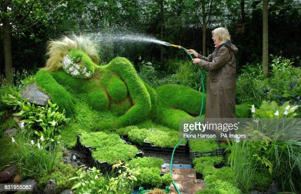 Heather Yarrow codesigner of the 4Head healing herb garden waters its reclining mud sculpture centrepiece designed by Sue and Peter Hill at the...