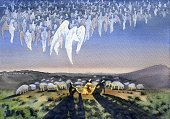 Many angels in the sky over a flock of sheep and shepherds proclaim the Birth of Christ