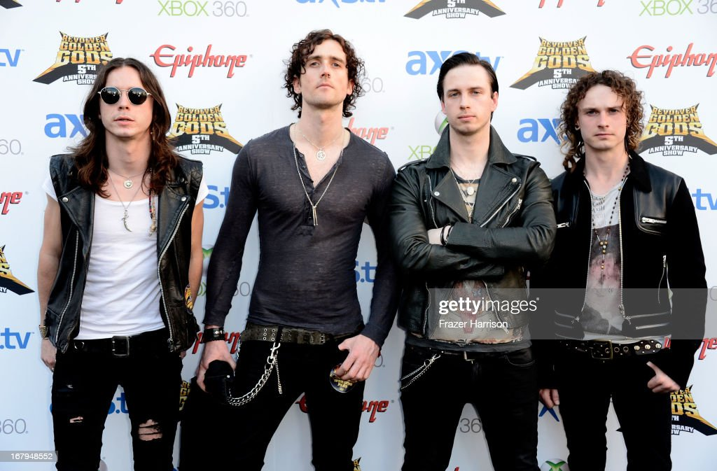 Heaven's Basement arrive at the 5th Annual Revolver Golden Gods Award Show at Club Nokia on May 2, 2013 in Los Angeles, California.