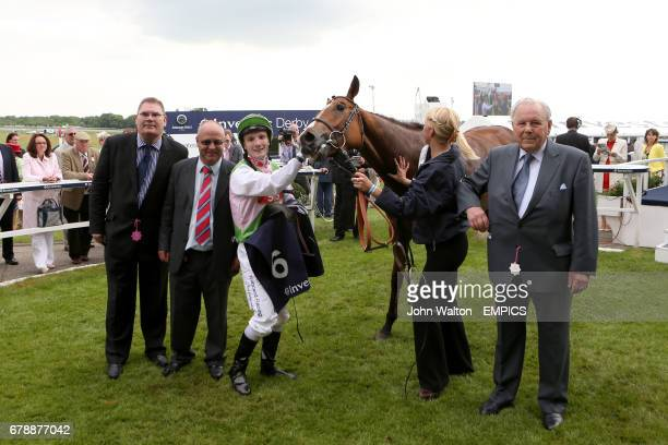 Heaven's Guest ridden by Frederik Tylicki after winning the Investec Asset Management Handicap with trainer Richard Fahey