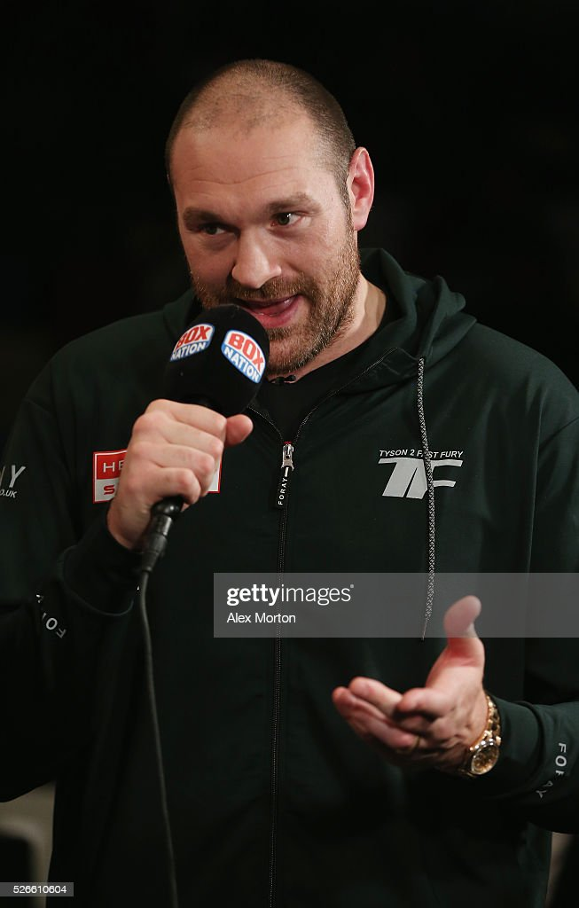 Heaveyweight Champion <a gi-track='captionPersonalityLinkClicked' href=/galleries/search?phrase=Tyson+Fury&family=editorial&specificpeople=5739191 ng-click='$event.stopPropagation()'>Tyson Fury</a> is interviewed ahead of the vacant WBO Intercontinental Heavyweight Championship contest between Hughie Fury and Fred Kassi at Copper Box Arena on April 30, 2016 in London, England.
