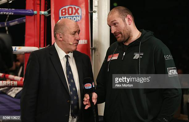 Heaveyweight Champion Tyson Fury is interviewed ahead of the vacant WBO Intercontinental Heavyweight Championship contest between Hughie Fury and...